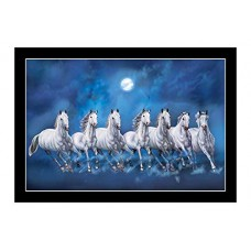 Scenery Art White Seven Running Horse Vastu Painting