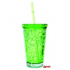 Green Jelly Bottle Glass Shaped With Straw \ School Stationary \ Toys for Kids