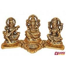 Ganesh Laxmi Saraswati Idol Showpiece Oil Lamp Diya\Home Decor\God Statues